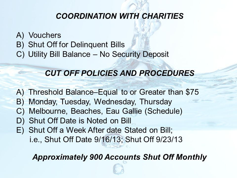 COORDINATION WITH CHARITIES A) Vouchers Shut Off for Delinquent Bills