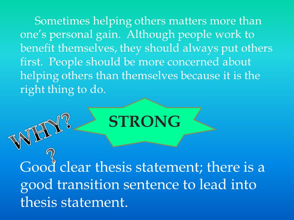 and thesises A thesis, in other words, is not the same as the thesis statement, which is a sentence or two in your introduction that tells the reader what the thesis is the thesis is not limited to one spot in your essay it runs through the whole thing, from start to finish.