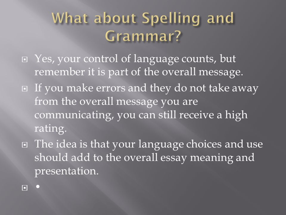 What about Spelling and Grammar