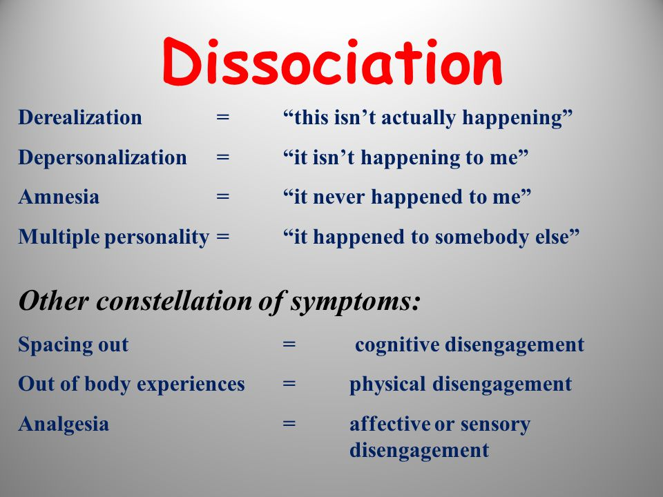 Dissociation Other constellation of symptoms: