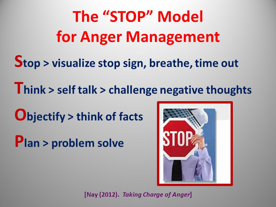 Stop > visualize stop sign, breathe, time out