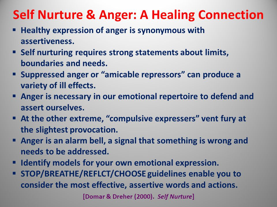 Self Nurture & Anger: A Healing Connection