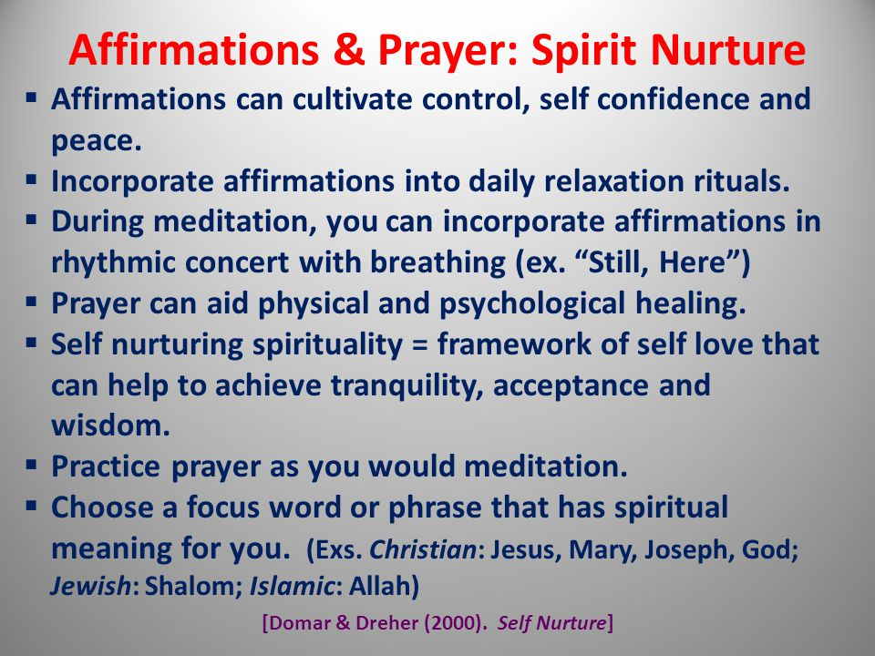 Affirmations & Prayer: Spirit Nurture
