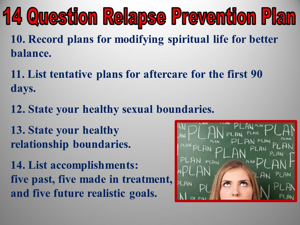 14 Question Relapse Prevention Plan