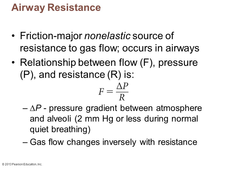 Relationship between flow (F), pressure (P), and resistance (R) is: