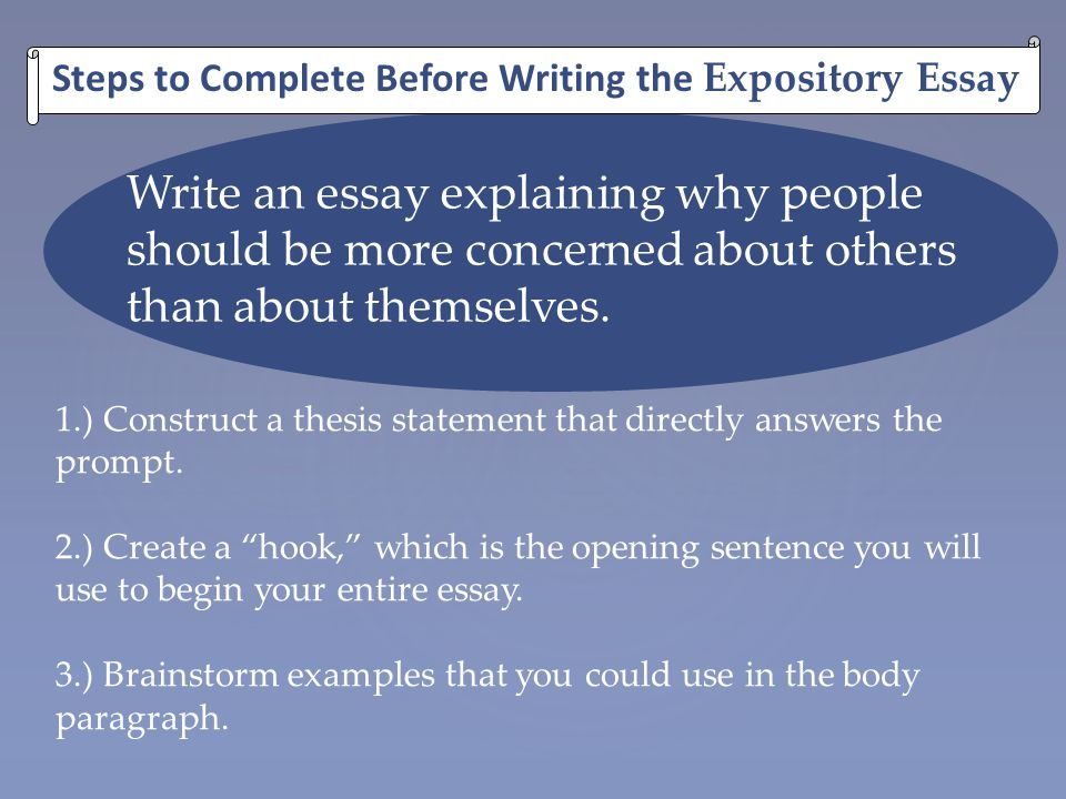 Steps to Complete Before Writing the Expository Essay