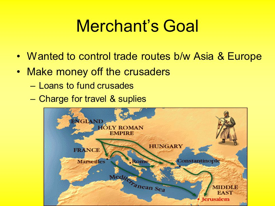 Merchant's Goal Wanted to control trade routes b/w Asia & Europe