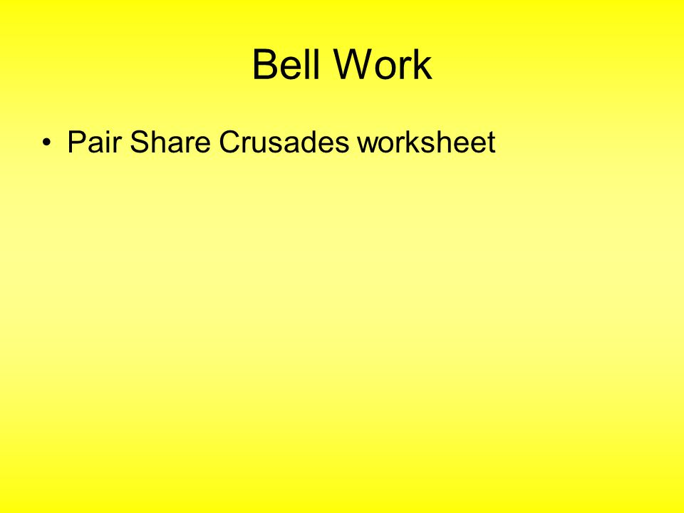 Bell Work Pair Share Crusades worksheet