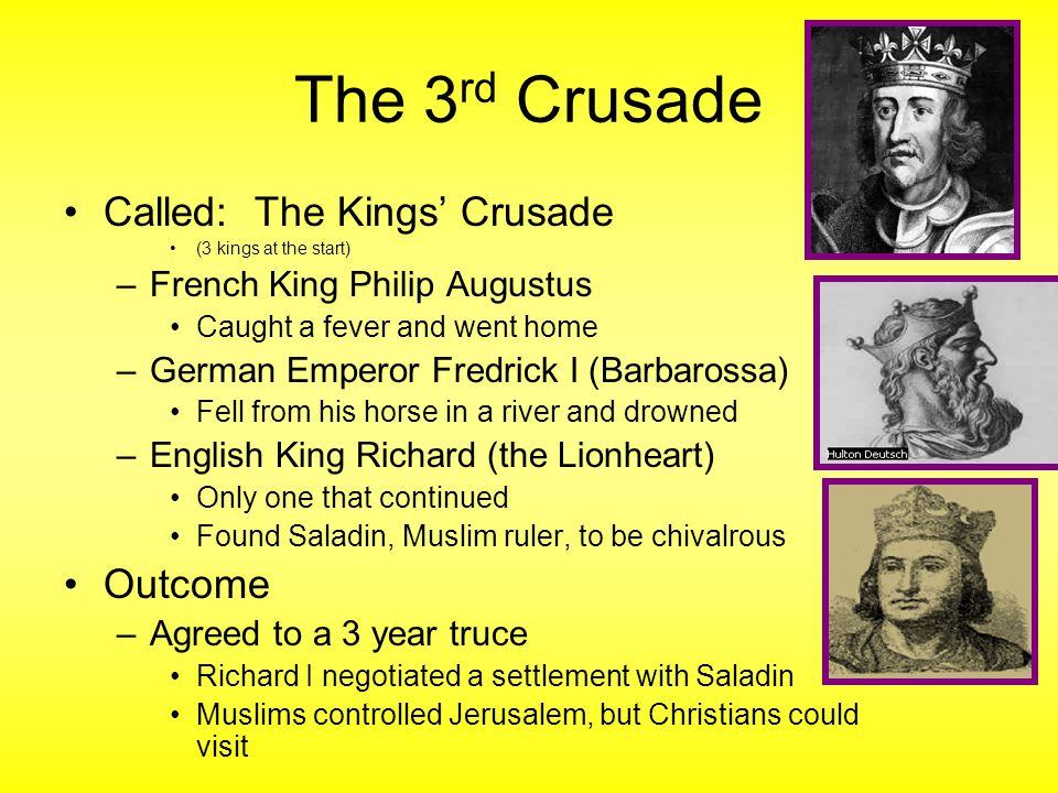 The 3rd Crusade Called: The Kings' Crusade Outcome