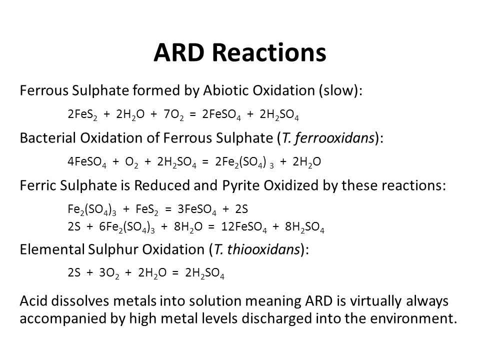 ARD Reactions Ferrous Sulphate formed by Abiotic Oxidation (slow):