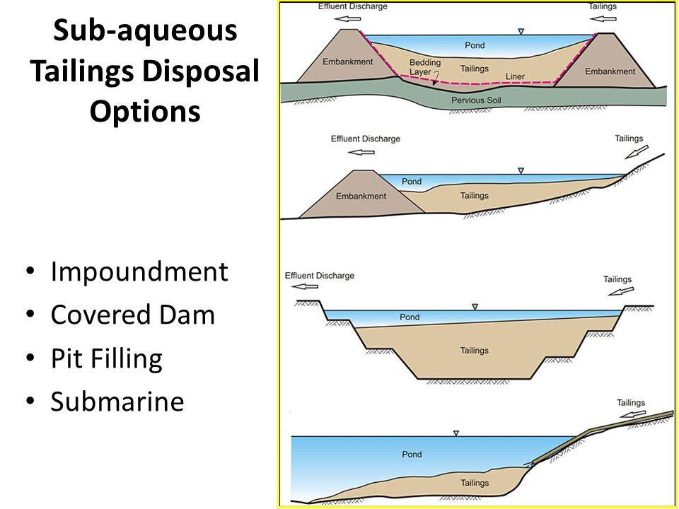 Sub-aqueous Tailings Disposal Options
