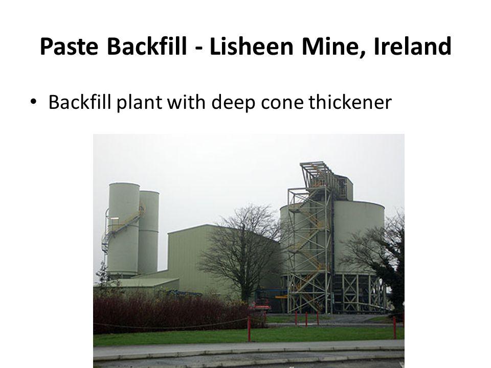 Paste Backfill - Lisheen Mine, Ireland