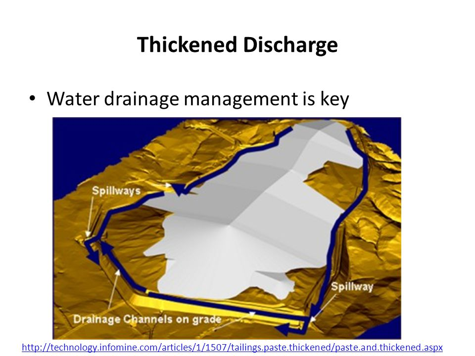 Thickened Discharge Water drainage management is key