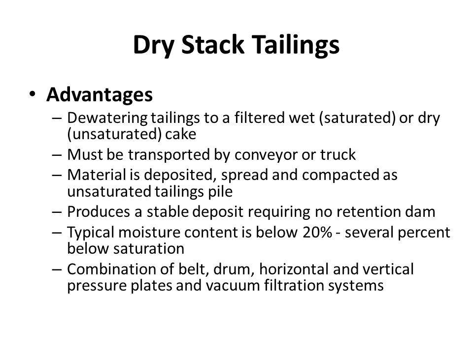 Dry Stack Tailings Advantages