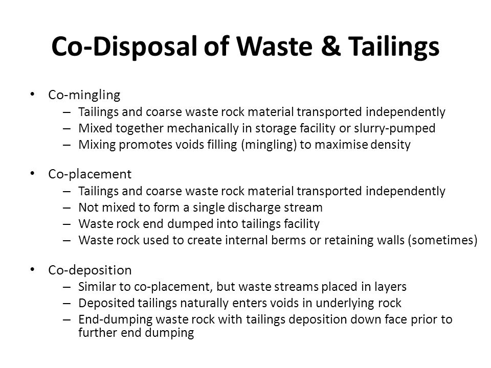 Co-Disposal of Waste & Tailings