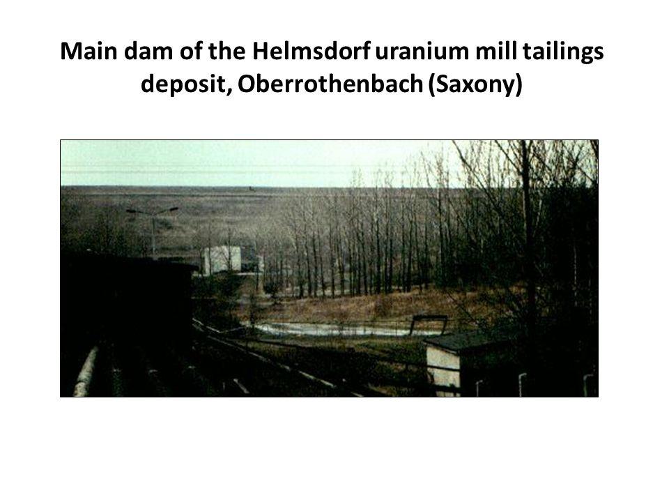 Main dam of the Helmsdorf uranium mill tailings deposit, Oberrothenbach (Saxony)
