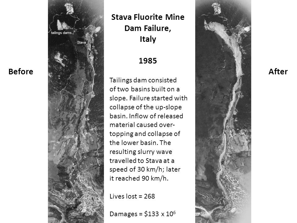 Stava Fluorite Mine Dam Failure, Italy 1985 Before After
