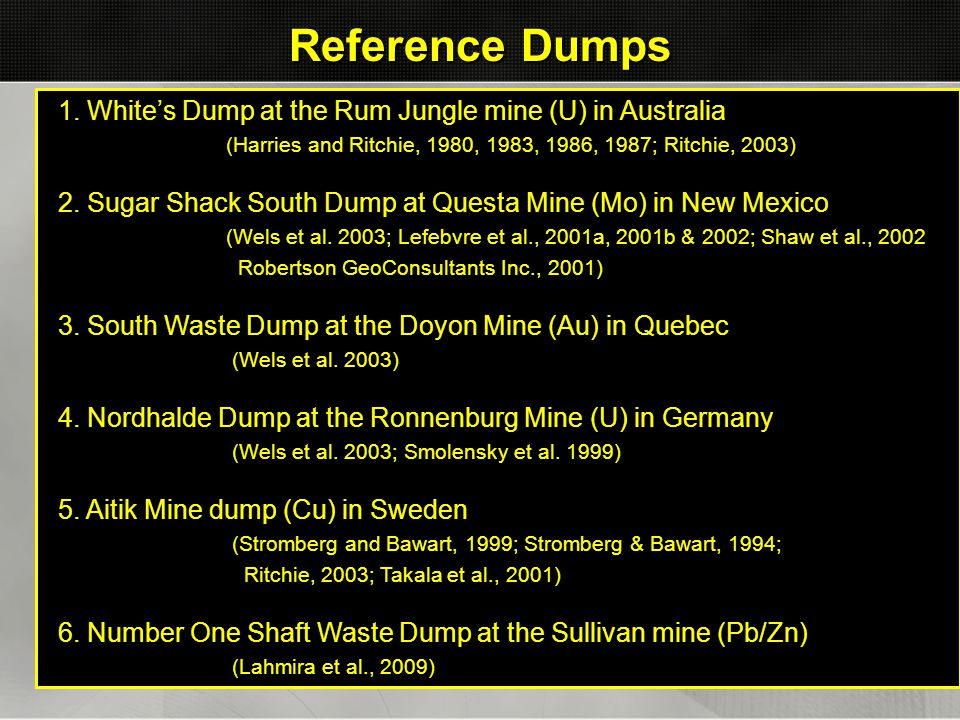 Reference Dumps 1. White's Dump at the Rum Jungle mine (U) in Australia. (Harries and Ritchie, 1980, 1983, 1986, 1987; Ritchie, 2003)