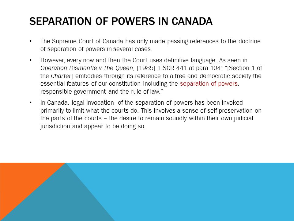 Separation of powers in Canada