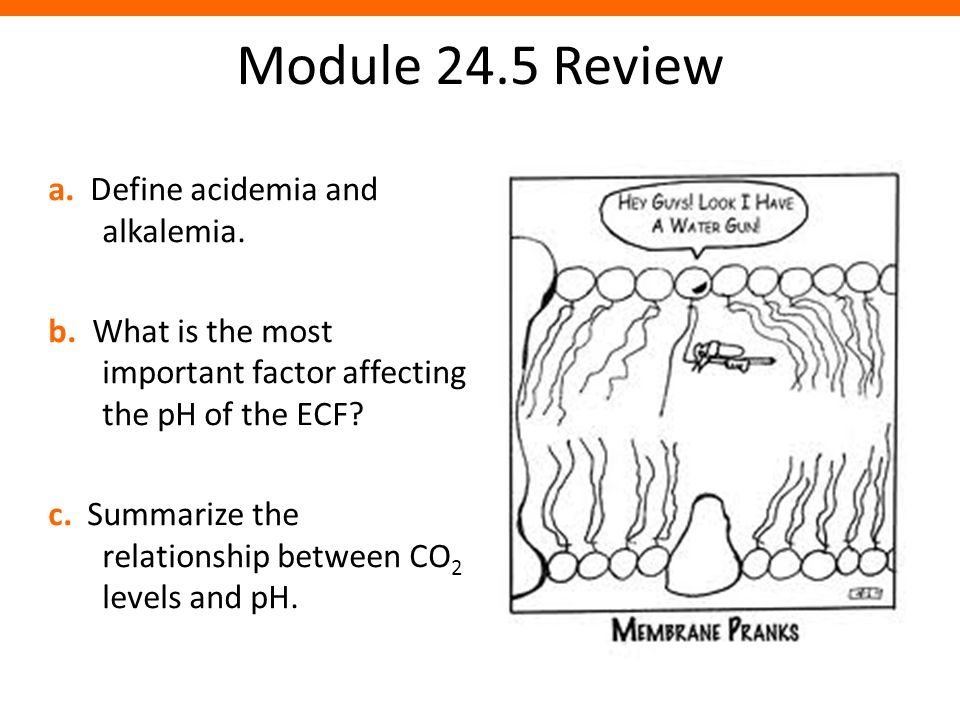 Module 24.5 Review a. Define acidemia and alkalemia.