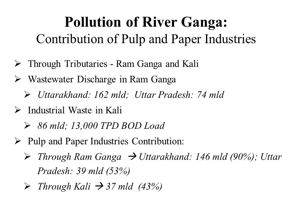 Pollution of River Ganga: Contribution of Pulp and Paper Industries