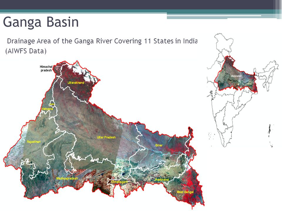Ganga Basin Drainage Area of the Ganga River Covering 11 States in India (AIWFS Data)