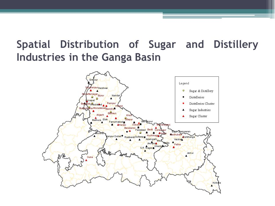 Spatial Distribution of Sugar and Distillery Industries in the Ganga Basin