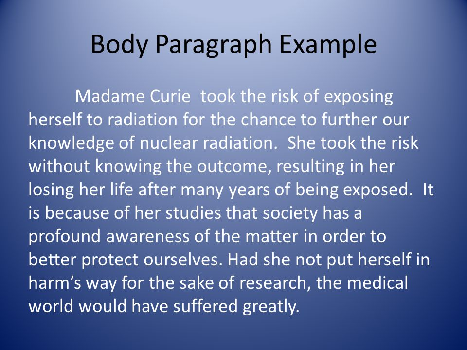 Body Paragraph Example