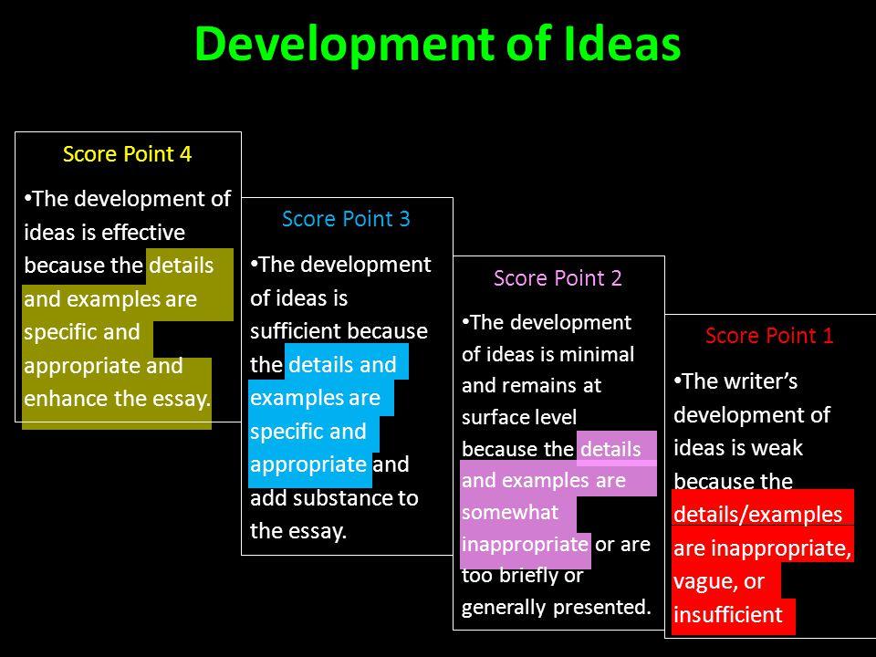 Development of Ideas Score Point 4