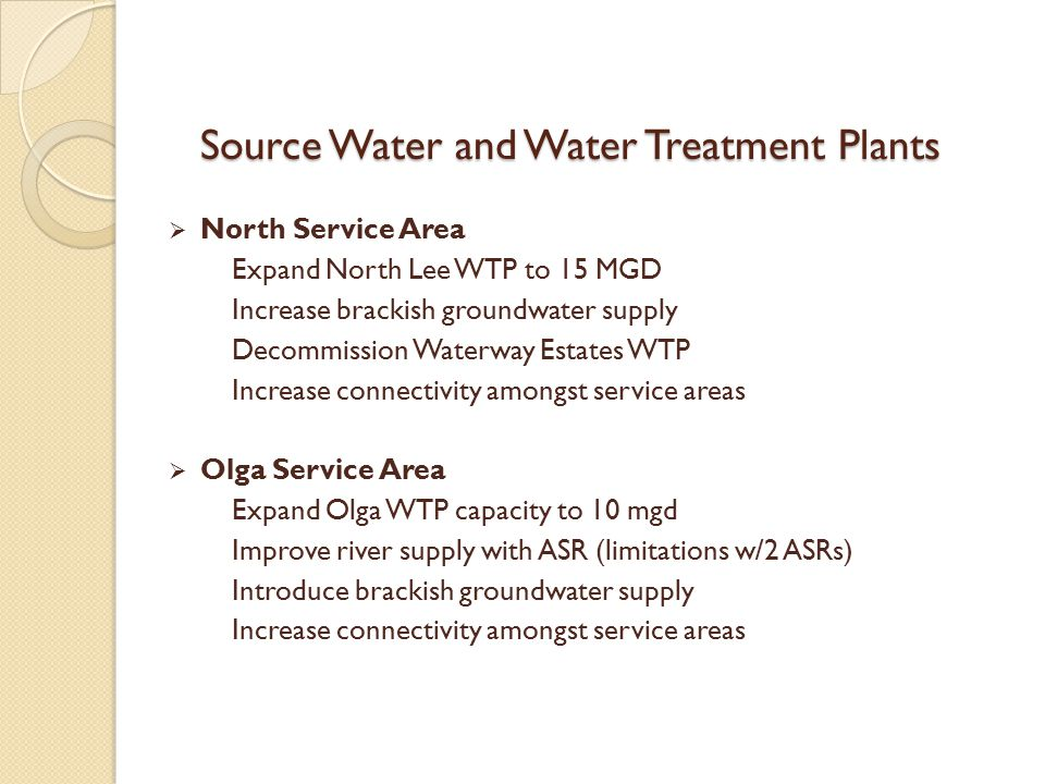 Source Water and Water Treatment Plants