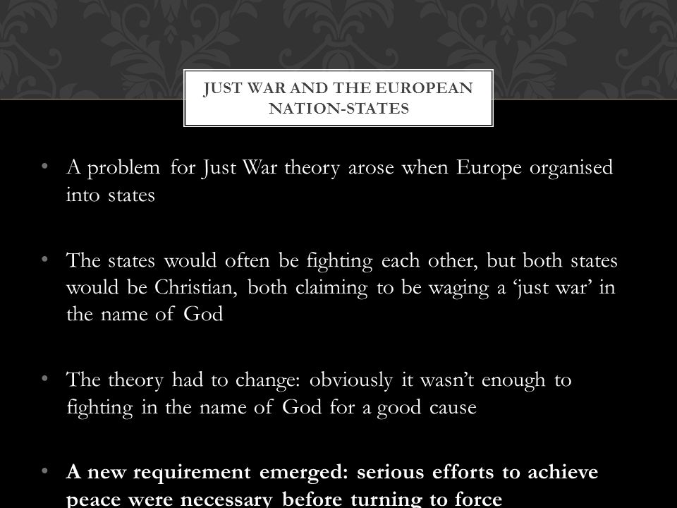 Just war and the European nation-states