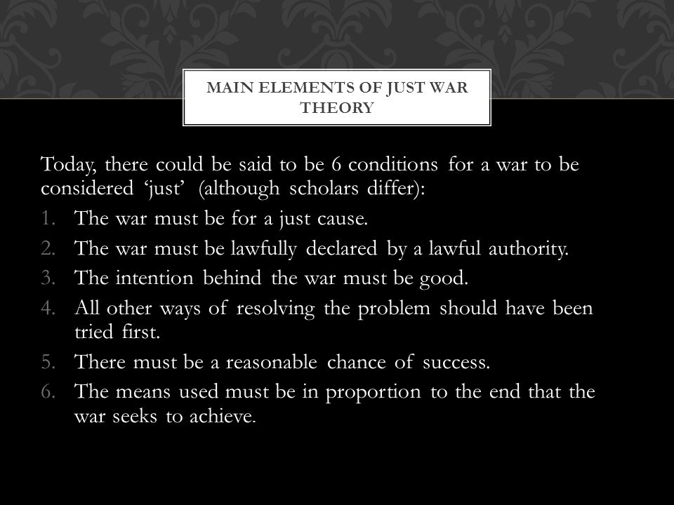 Main elements of Just war theory
