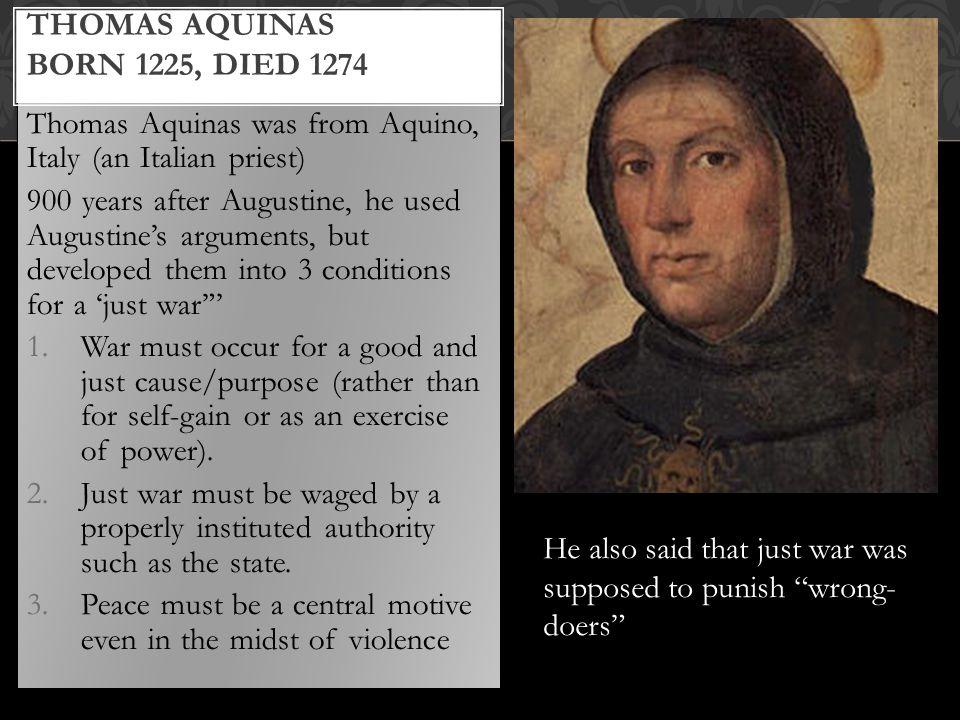 Thomas Aquinas born 1225, died 1274