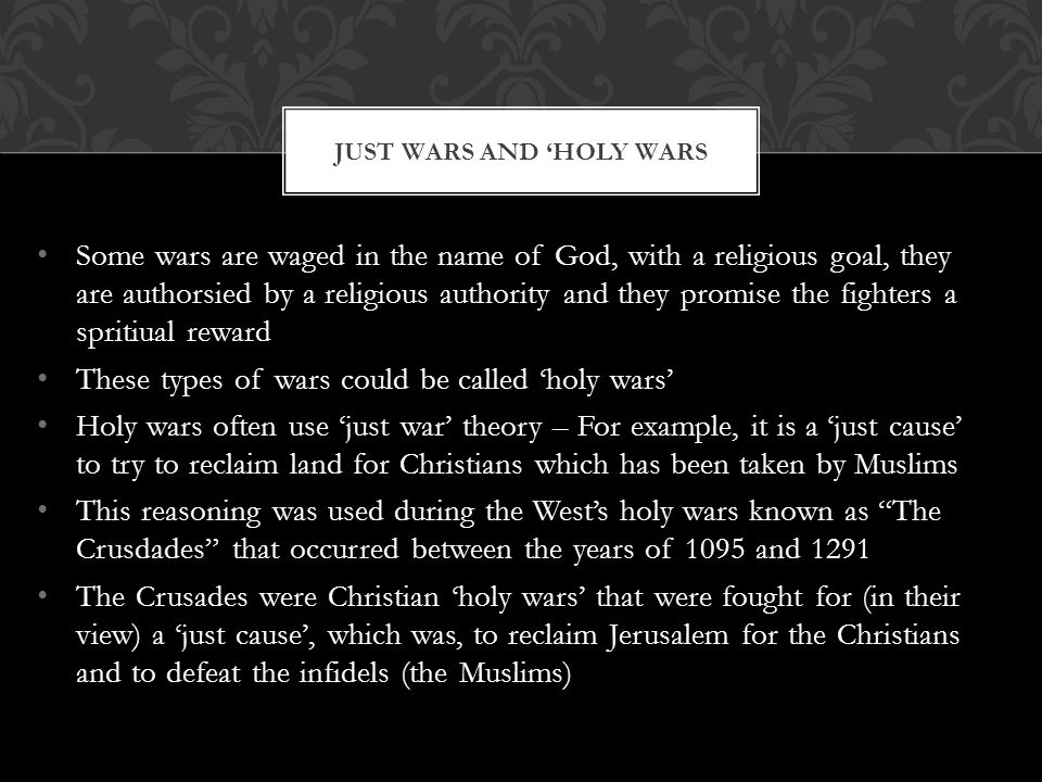 Just wars and 'holy wars