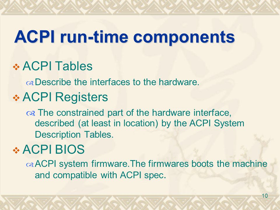 ACPI run-time components