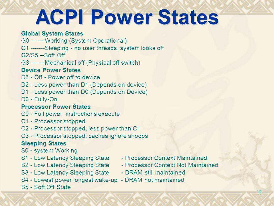 ACPI Power States Global System States