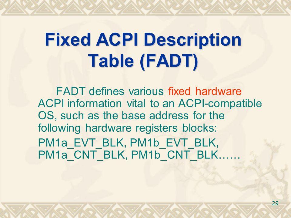 Fixed ACPI Description Table (FADT)