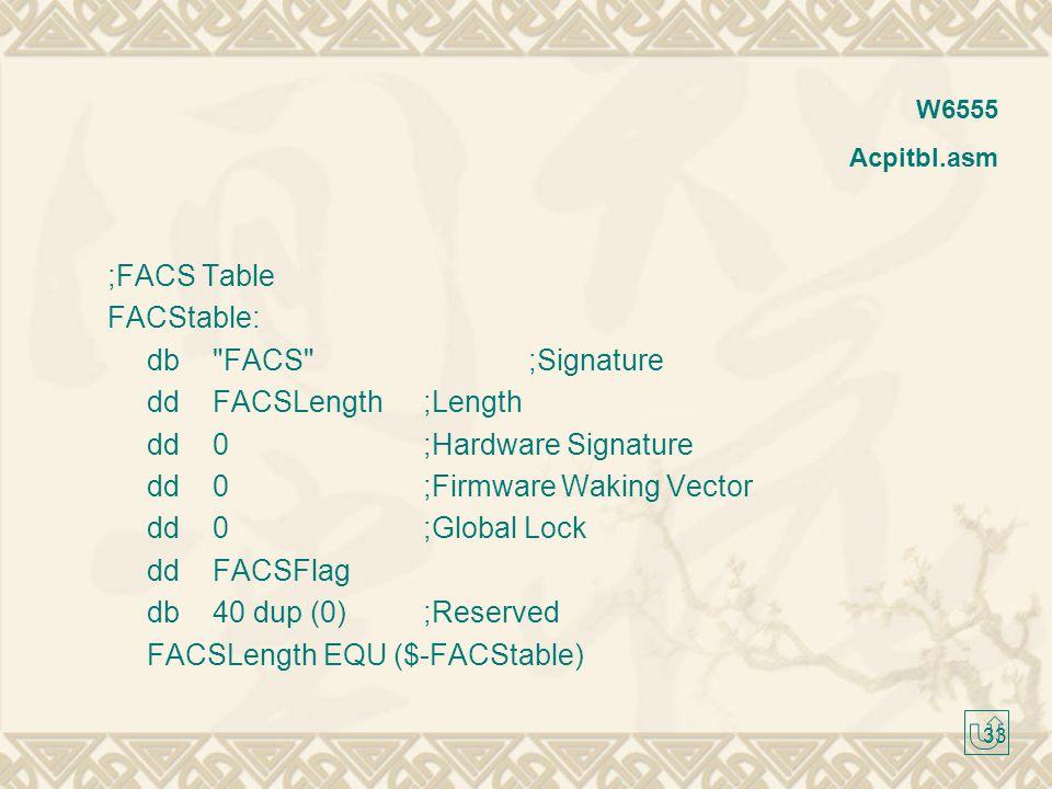dd 0 ;Hardware Signature dd 0 ;Firmware Waking Vector