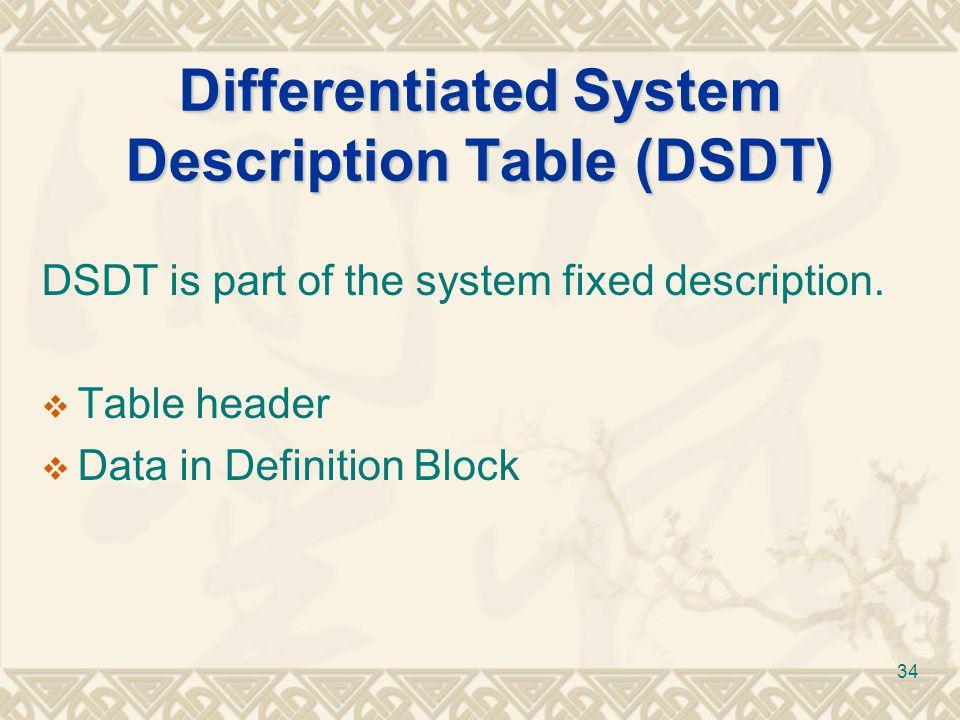 Differentiated System Description Table (DSDT)