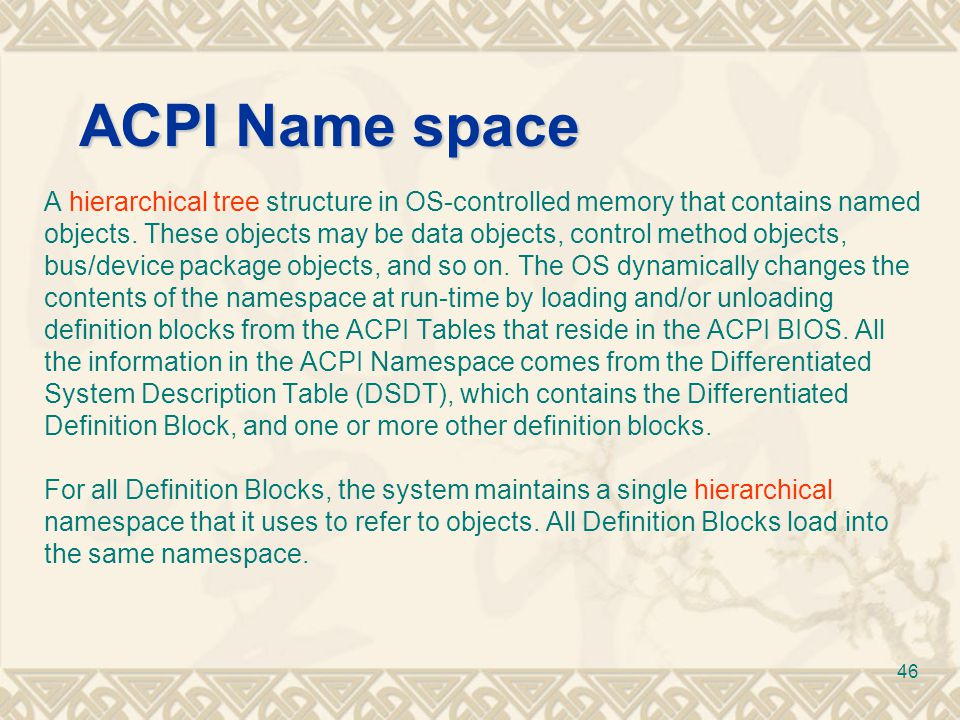 ACPI Name space A hierarchical tree structure in OS-controlled memory that contains named.
