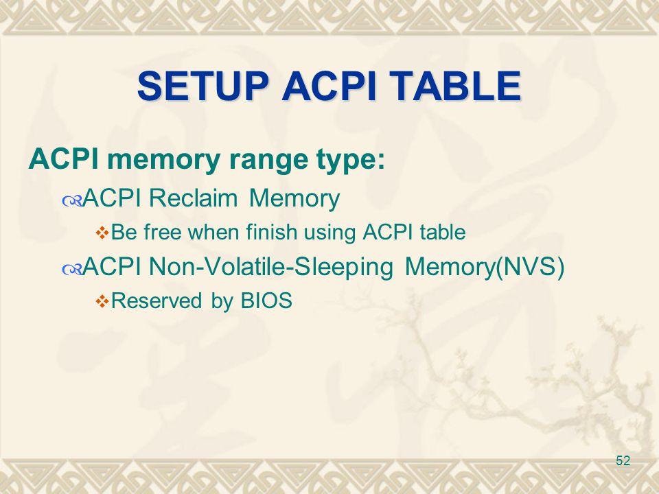 SETUP ACPI TABLE ACPI memory range type: ACPI Reclaim Memory