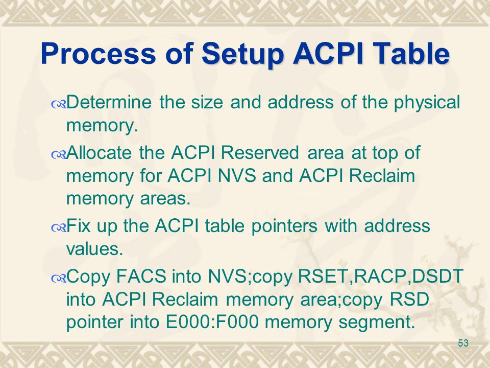 Process of Setup ACPI Table