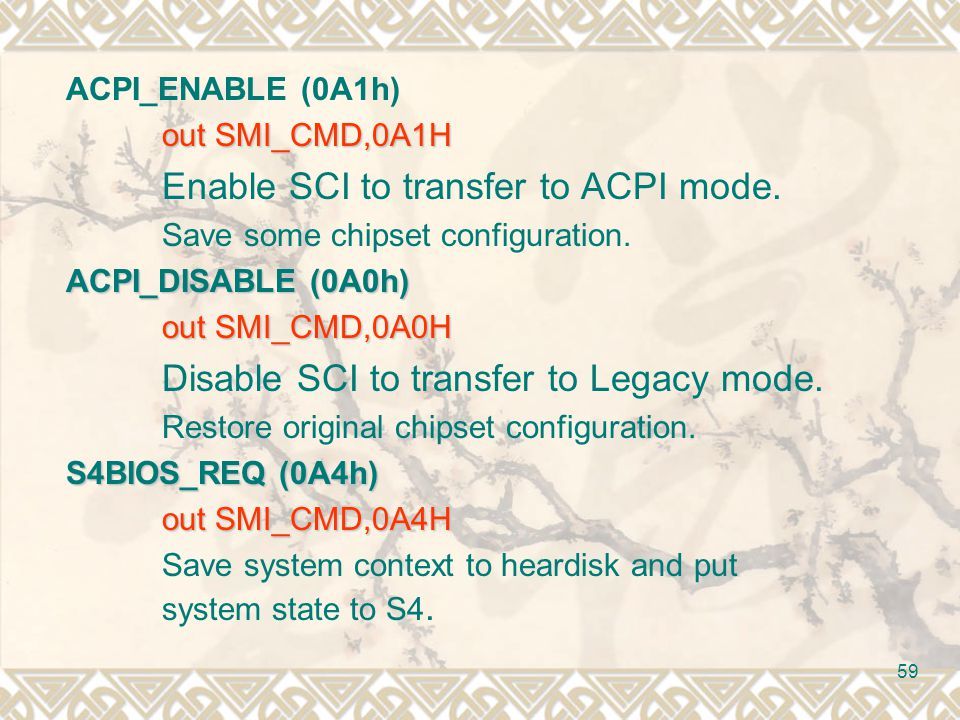 Enable SCI to transfer to ACPI mode.