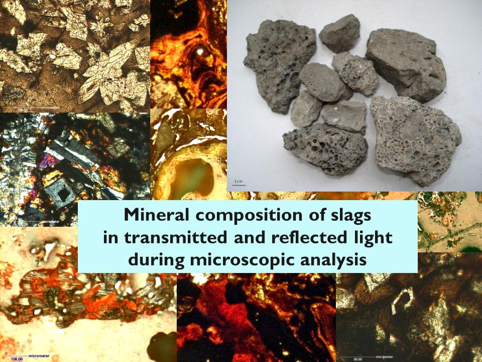 Mineral composition of slags