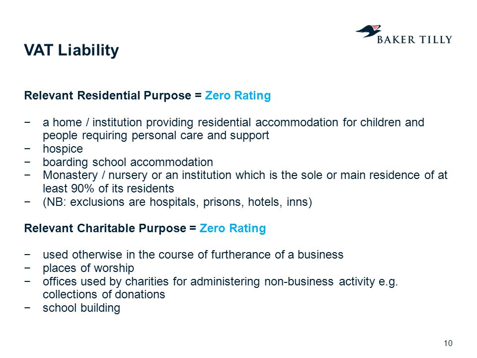 VAT Liability Relevant Residential Purpose = Zero Rating
