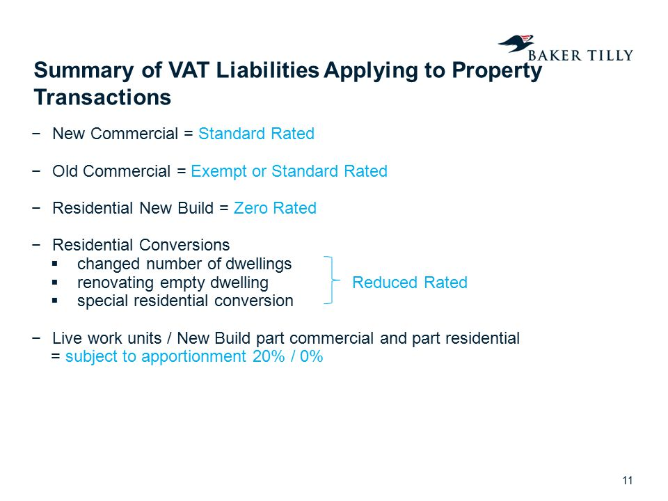Summary of VAT Liabilities Applying to Property Transactions