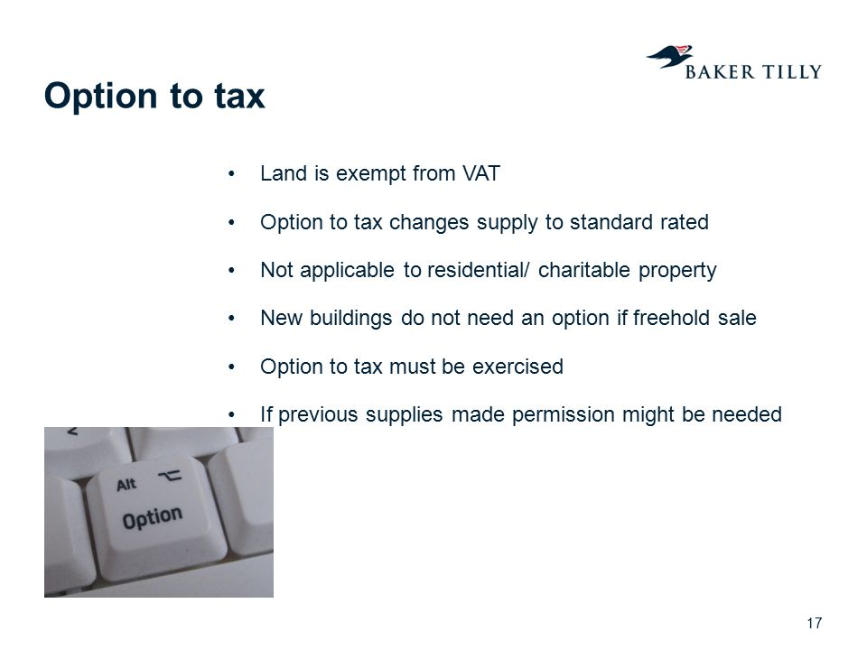 Option to tax Land is exempt from VAT