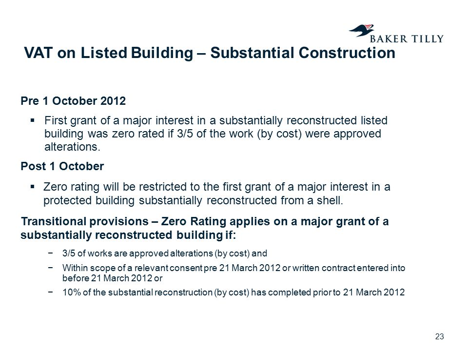 VAT on Listed Building – Substantial Construction