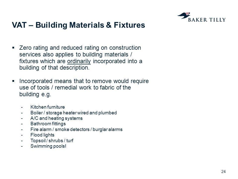VAT – Building Materials & Fixtures