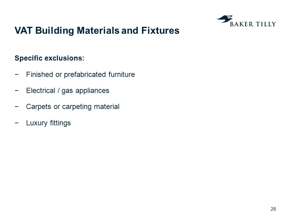 VAT Building Materials and Fixtures